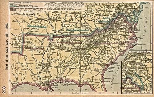 Карта гражданской войны в сша